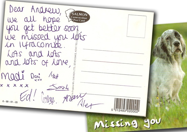 WONDERFUL SURPRISE: Madi arranged the group to sign a postcard that Josh spotted. (madipostcard_ilfracombe_combined)