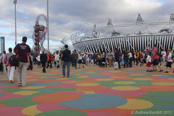 LEAVING THE PARK: Spectators leave the Olympic Park. (IMG_9956)