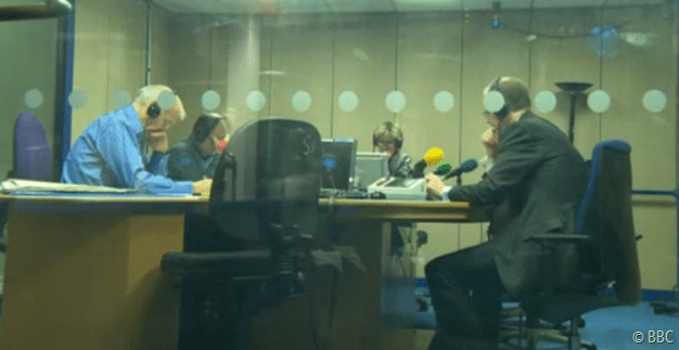 EXPLAIN YOURSELF: George Entwistle (R) appears before Radio 4's John Humphrys (L).