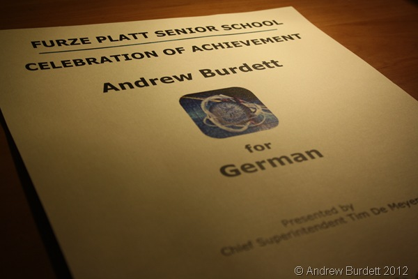 NO UN-CERT-AIN TERMS: I was awarded the KS4 (GCSE) Subject Prize for German. (IMG_8999)