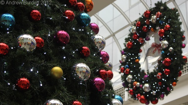 ALL READY FOR CHRISTMAS: Decorations in the Nicholson Shopping Centre in Maidenhead on Saturday morning. (IMG_4413)