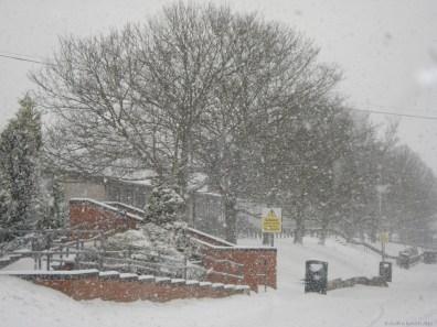 Snow captured on West Drive at Furze Platt Senior School, just after everybody else had left.