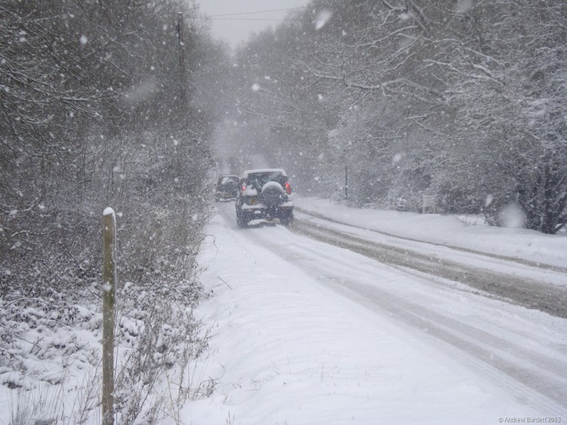 Some drivers were unperturbed by the wintry conditions.