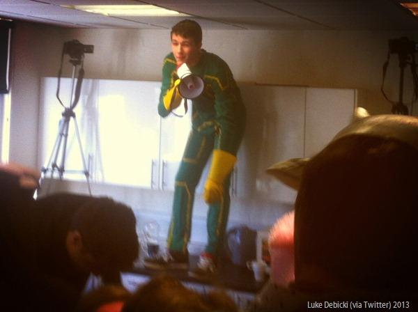 DIRECTOR'S ORDERS: Jay Brickell directing the 30-second video. (BDLlpVHCUAEC6pg_LukeDebicki Twitter)