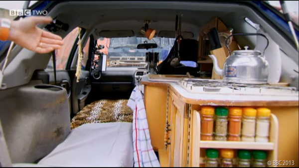 RICHARD'S MODIFIED CAR: Complete with kitchen and leopard-print bed.