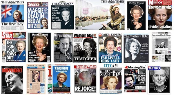 MAGGIE MONTAGE: The front pages on the morning after Thatcher's death.