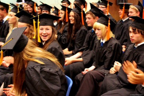 SMILES ALL ROUND: This Year 11 student seemed happy to be graduating.