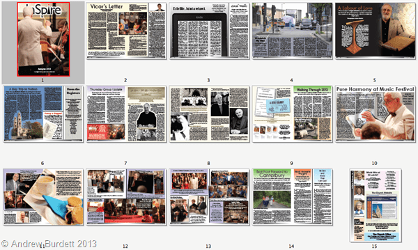 WHAT'S WITHIN: The breakdown of the spreads, as produced by InDesign, the new software being used to edit the magazine.
