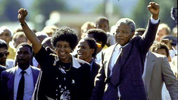 Nelson Mandela pictured walking free.
