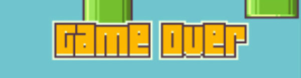 """A screenshot of the """"Game Over"""" screen on 'Flappy Bird'."""
