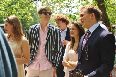 Andrew Burdett shares a joke with friends Lorna Young, Zac Brooke, Jack Chapman, and Daisy Wallis.