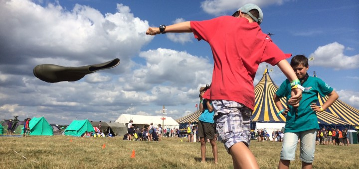 Stephen, 10, from 5th Woodley, lobs a Wellington boot at WINGS2014.