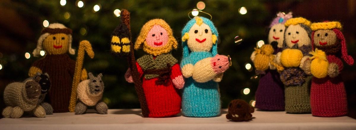 A knitted nativity scene.