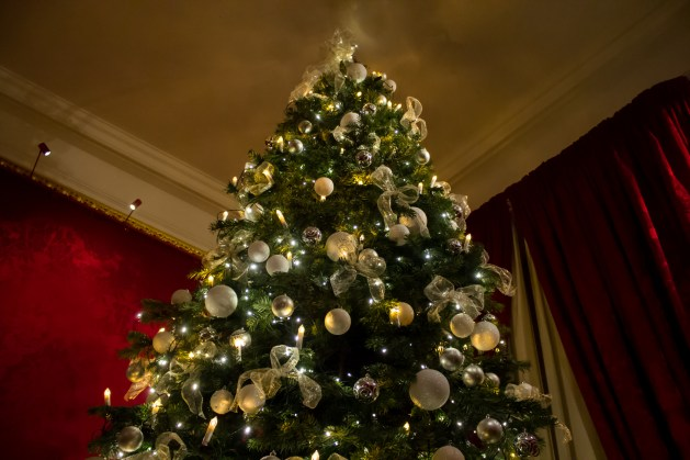A white Waddesdon Christmas tree stands in the corner of a red-decorated room.