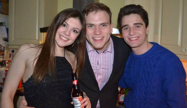 Emily Martin, Andrew Burdett, and Jack Clifton welcoming in 2015 at a New Year's Eve party last night.