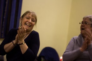 Sally Lynch watched joyfully as the final dance came to its conclusion, marking the end to the evening.