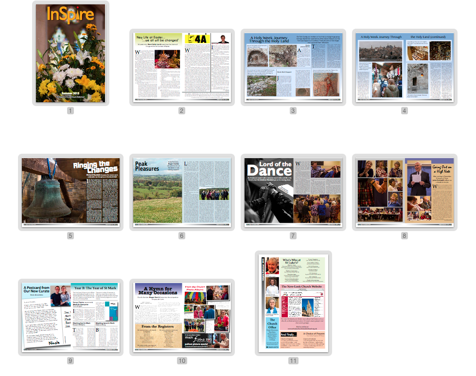 A graphic with page thumbnails from the Summer 2015 edition of InSpire.