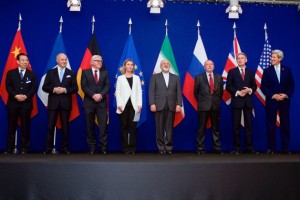 Representatives from Iran and the P5+1 after concluding talks in Lausanne, Switzerland. Courtesy of U.S. State Department.