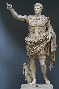 Augustus of Prima Porta. Displayed in the Braccio Nuovo of the Vatican Museums.
