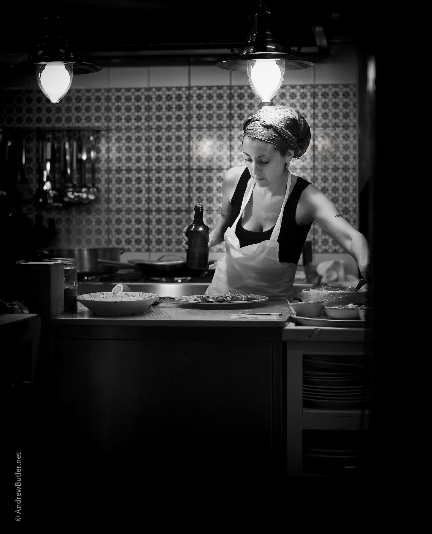 Black and White portrait photograph of Sicilian Chef by Andrew Butler (Exeter)