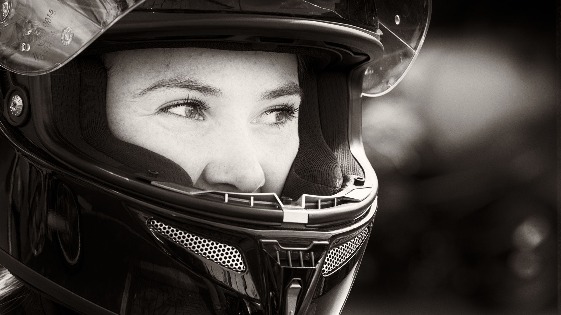 Black and White portrait photograph of Girl in Helmet by Andrew Butler (Exeter)