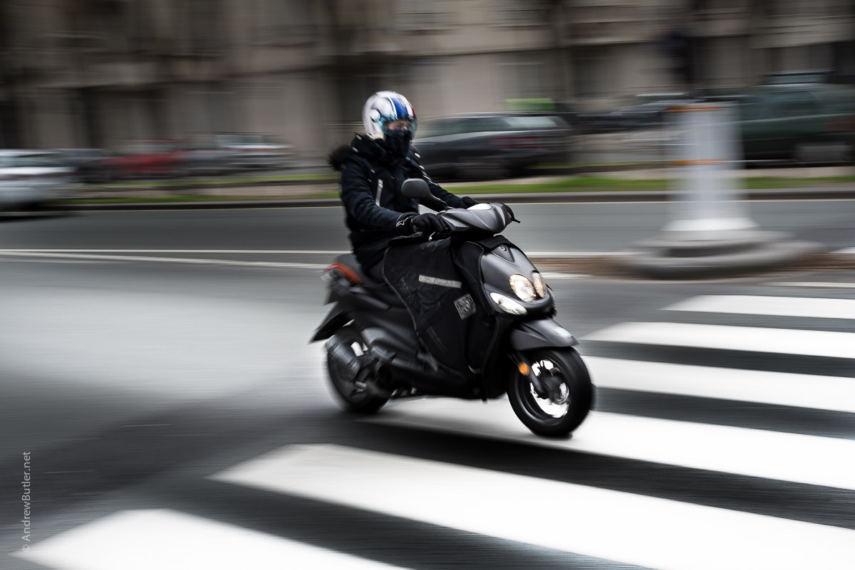 Scooter in Paris photographed by motorbike photographer Andrew Butler