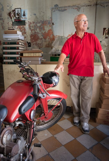 Moto Guzzi Airone in Palermo by motorbike photographer Andrew Butler