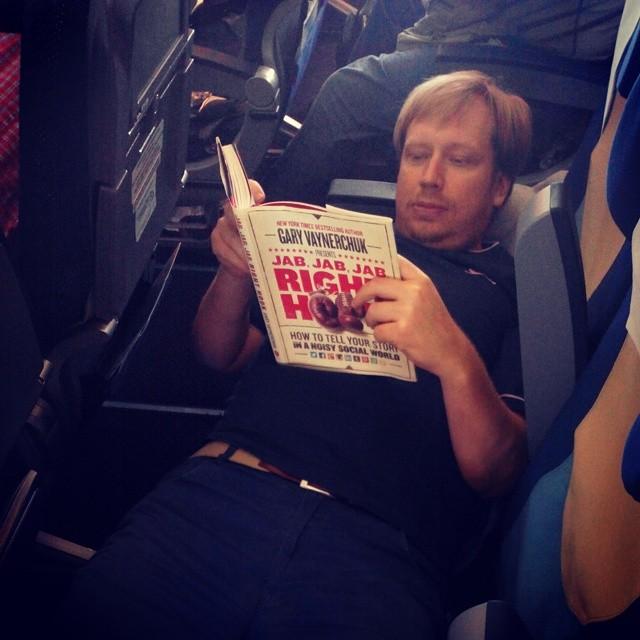 A good read on plane! Jab, Jab, Jab Right Hook by @garyvee #jjjrhbook #book #books
