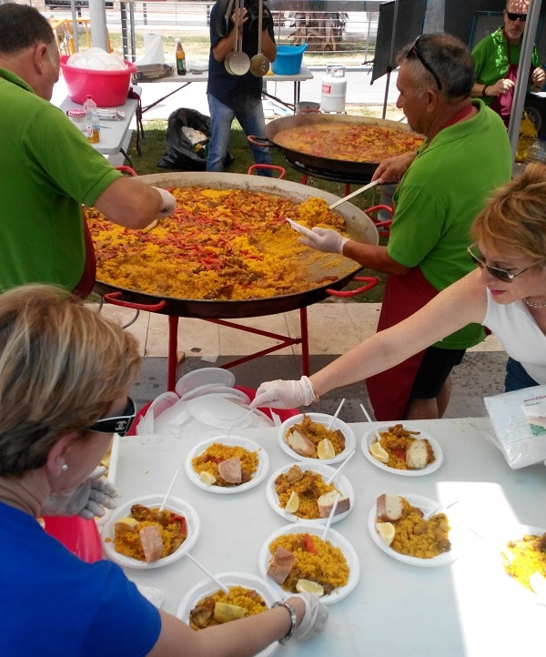 Paella made and sold during a local festival in Torrevieja