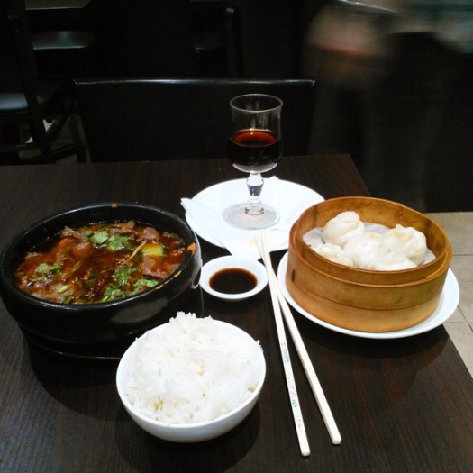 Dumplings, beef and rice at Le Grand Bol restaurant, Paris, France