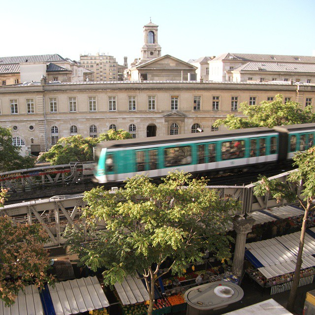 Paris Metro train seen from a hotel window