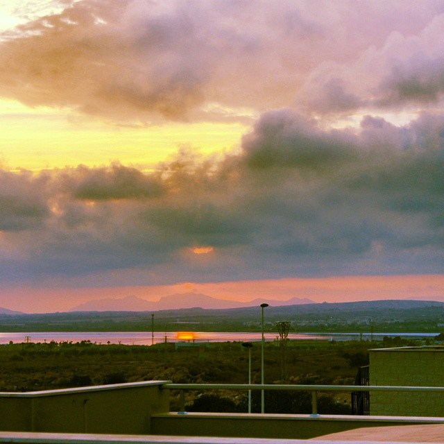 Cloudy Sunset Over the Torrevieja Salt Lake. June, 29, 2014