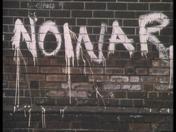 'No War' graffiti from a scene in Threads