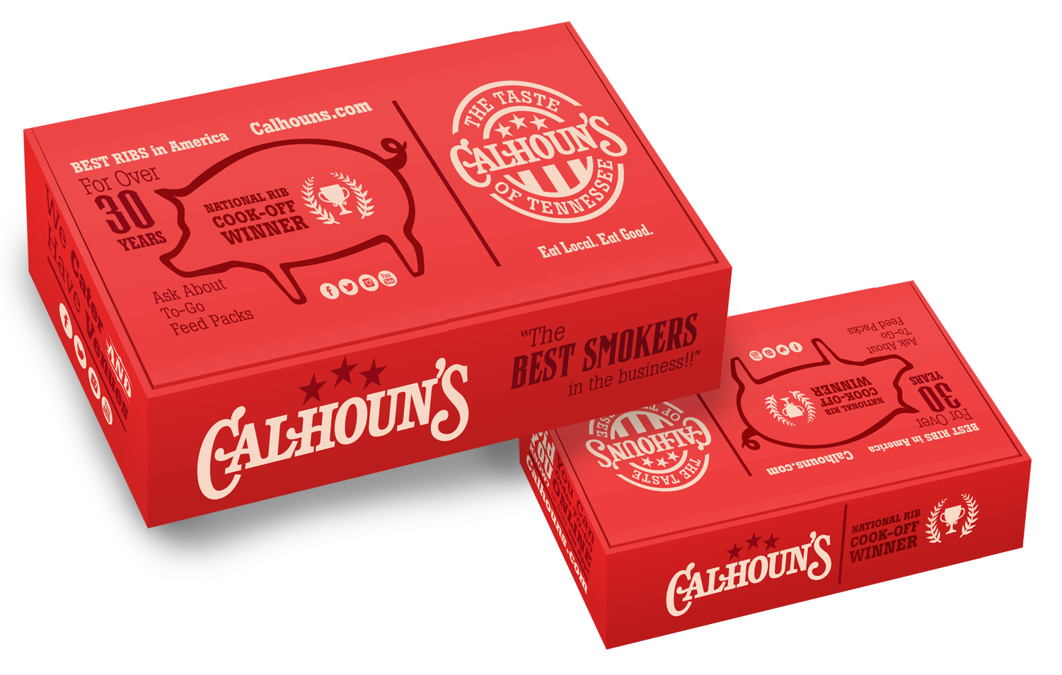 CLIENT: CALHOUN'S RESTAURANT --PROJECT: TO-GO RIB BOX REDESIGN -- WORK DONE: DESIGN/LAYOUT