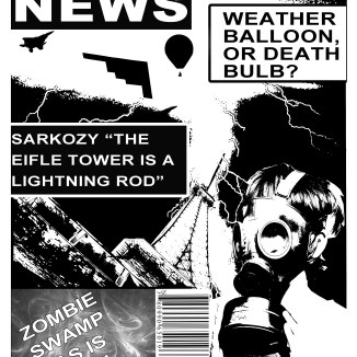 This was my midterm for Adobe Photoshop; the objective was to create a cover for the weekly world news. I think the black and white really makes the lightning stand out much better and makes the gas mask and aeronautical silhouettes more ominous.