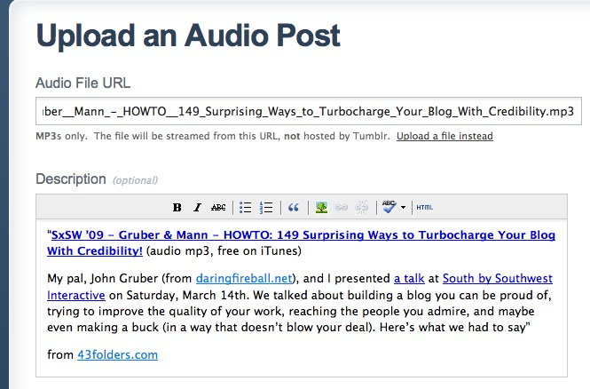 Listen Later: How to create an Instapaper-style audio blog