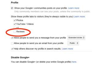 G+ Reviews are activated in Settings