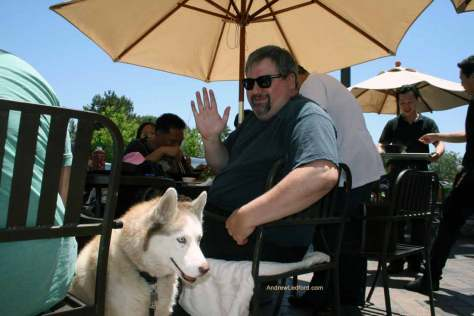 Chris Voss and his dog at dot com pho