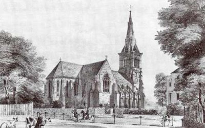 The church of St John of Jerusalem in Hackney, east London, UK; a nineteenth-century engraving of the north side.