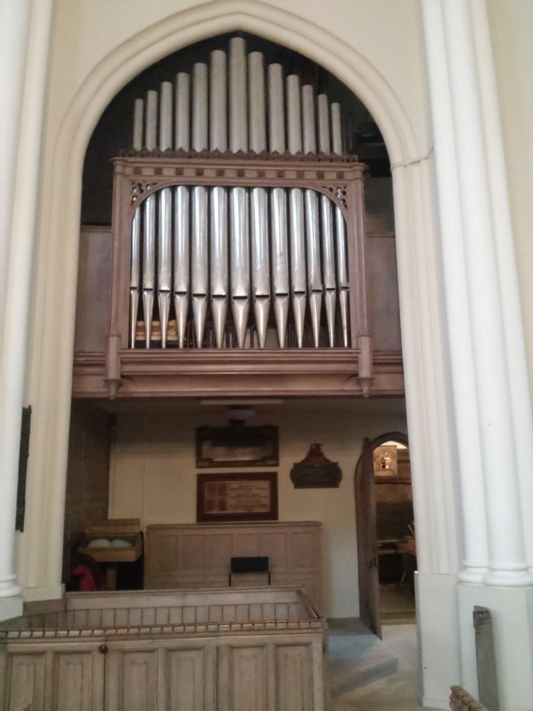 St Bartholomew the Less, Smithfield, looking west, organ case.