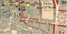 The location c.1880s of St Joseph's Catholic Church, Lamb's Buildings, London EC1, from William Booth's 'Life and Labour of the People in London': http://booth.lse.ac.uk