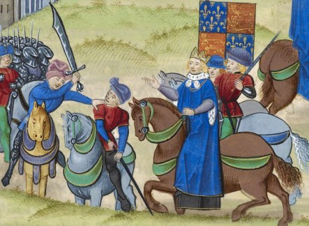 Death of Wat Tyler. British Library Royal MS 18.E.i-ii f. 175 (date: 1385-1400)