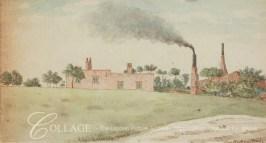 Factory buildings viewed across a field, near Hackney Wick c1795