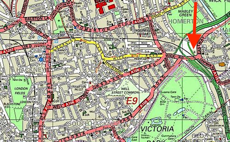 The location of St Mary-of-Eton church London E9, c.2000.