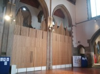St Mary-of-Eton church (1890), London E9, interior, looking sotuh-west, c.2016, showing the organ (1965)