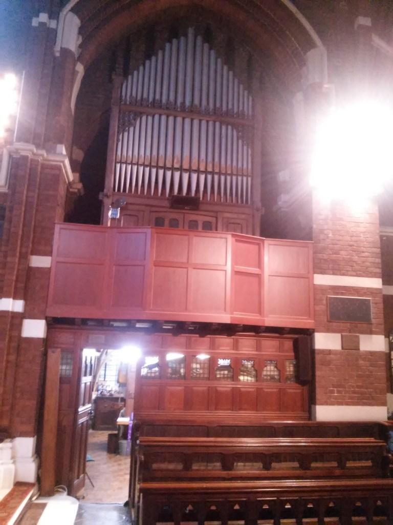 St Michael and All Angels church, Walthamstow, London E17. South Choir gallery pipe-organ.