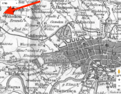 Map c.1750 showing location of St Mary's Willesden