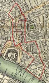 Parish of St Botolph Aldgate, outlined in red, on the1741-5 map of London by John Rocque