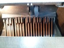 St Andrew Earlsfield, London UK, the organ (1921) by Harrison & Harrison of Durham, UK. peadl board, as in 2017.