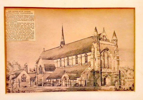 Drawing by E W. Mountford, architect, of the proposed church of St Andrew Earlsfield, with newspaper cutting, c.1889. London Metropolitan Archive P95/AND1/063